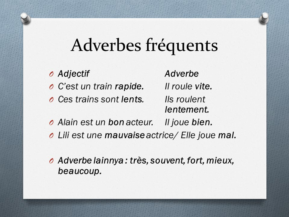 Adverbes fréquents Adjectif Adverbe