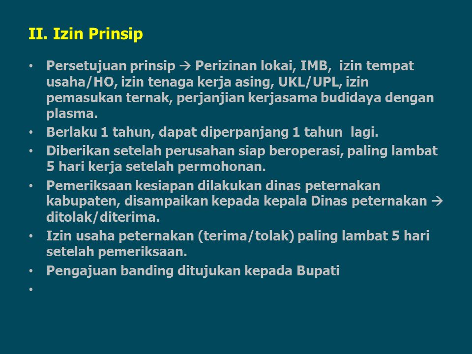 II. Izin Prinsip