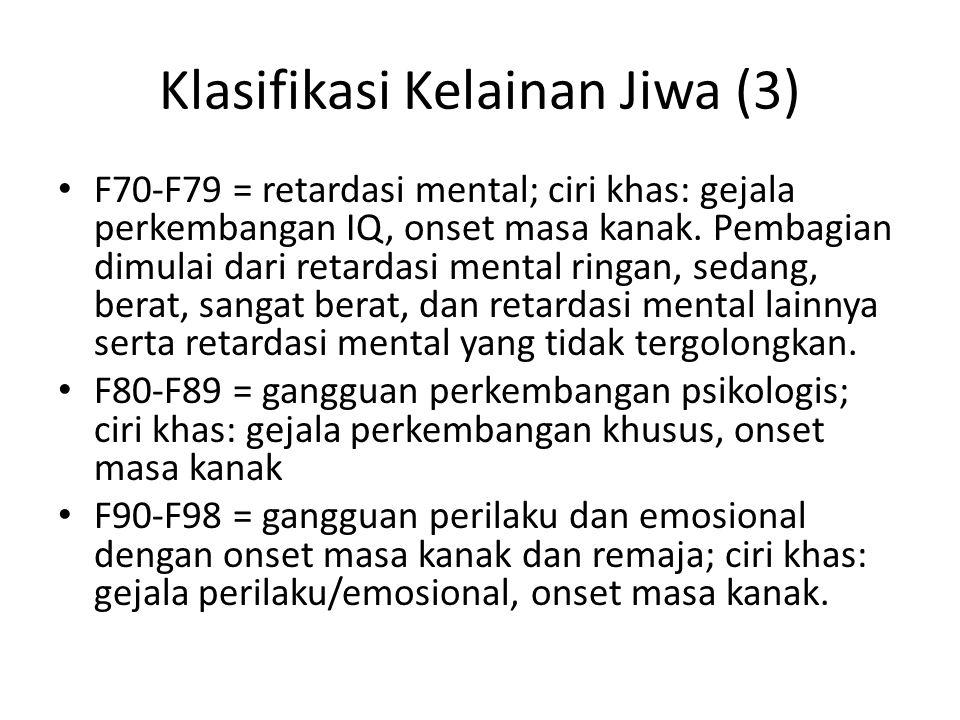 Klasifikasi Kelainan Jiwa (3)