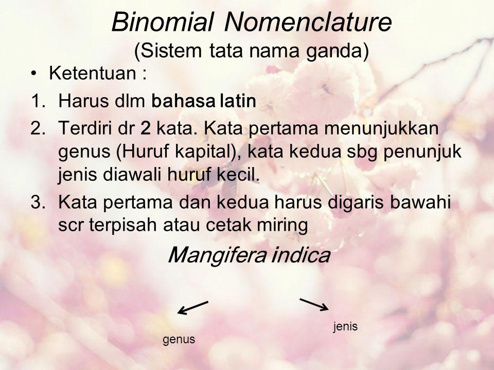 Binomial Nomenclature (Sistem tata nama ganda)