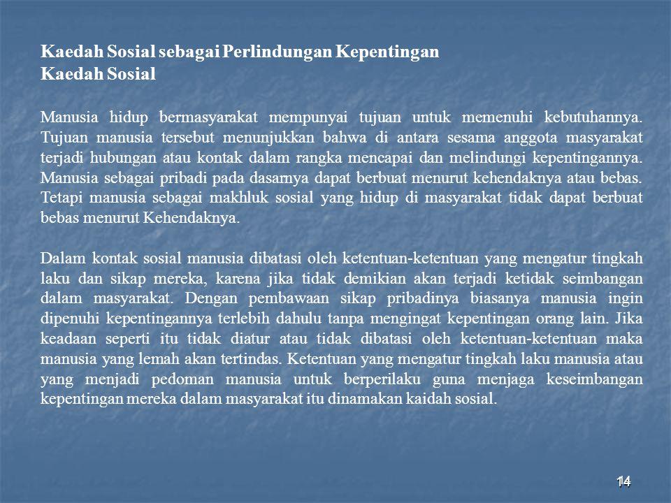 Kaedah Sosial sebagai Perlindungan Kepentingan Kaedah Sosial