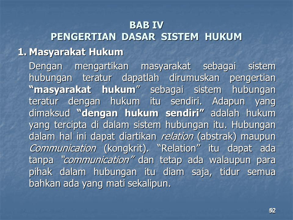 BAB IV PENGERTIAN DASAR SISTEM HUKUM