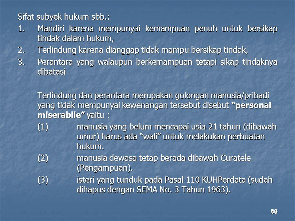 Sifat subyek hukum sbb. : 1