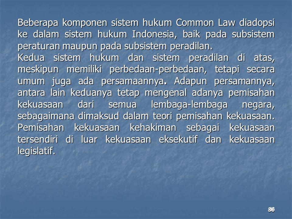 Beberapa komponen sistem hukum Common Law diadopsi ke dalam sistem hukum Indonesia, baik pada subsistem peraturan maupun pada subsistem peradilan. Kedua sistem hukum dan sistem peradilan di atas, meskipun memiliki perbedaan-perbedaan, tetapi secara umum juga ada persamaannya. Adapun persamannya, antara lain keduanya tetap mengenal adanya pemisahan kekuasaan dari semua lembaga-lembaga negara, sebagaimana dimaksud dalam teori pemisahan kekuasaan. Pemisahan kekuasaan kehakiman sebagai kekuasaan tersendiri di luar kekuasaan eksekutif dan kekuasaan legislatif.