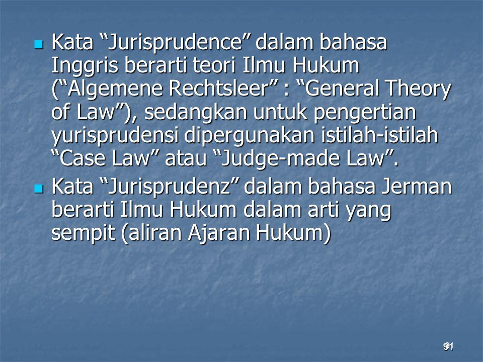 Kata Jurisprudence dalam bahasa Inggris berarti teori Ilmu Hukum ( Algemene Rechtsleer : General Theory of Law ), sedangkan untuk pengertian yurisprudensi dipergunakan istilah-istilah Case Law atau Judge-made Law .