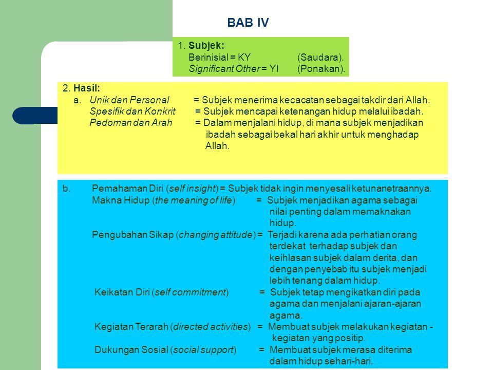 BAB IV 1. Subjek: Berinisial = KY (Saudara).
