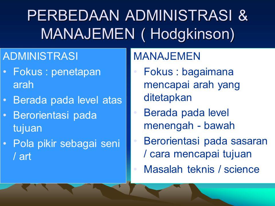 PERBEDAAN ADMINISTRASI & MANAJEMEN ( Hodgkinson)