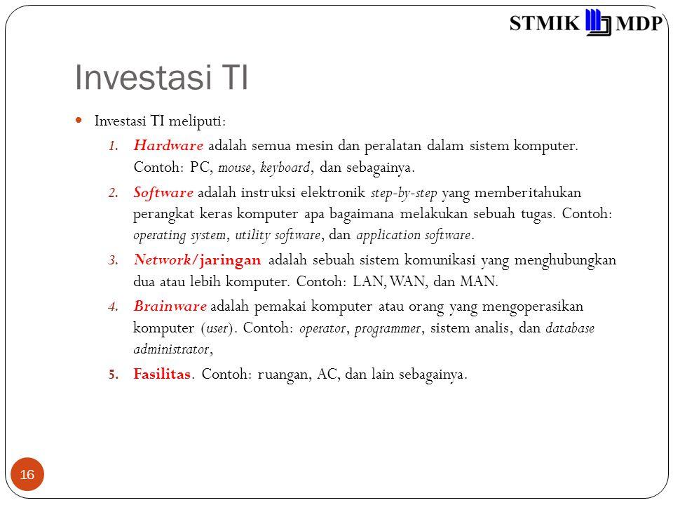 Investasi TI Investasi TI meliputi: