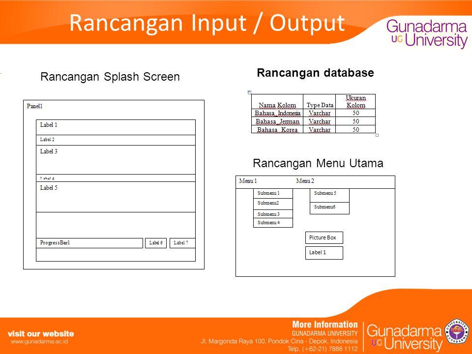 Rancangan Input / Output