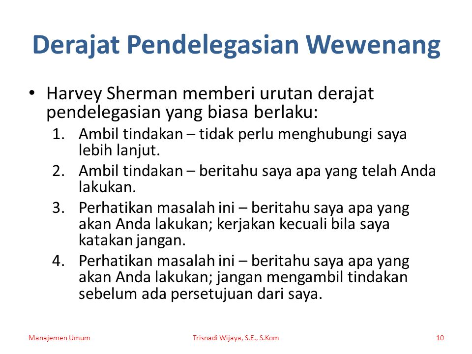 Derajat Pendelegasian Wewenang