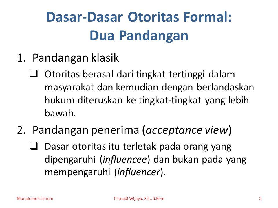 Dasar-Dasar Otoritas Formal: Dua Pandangan