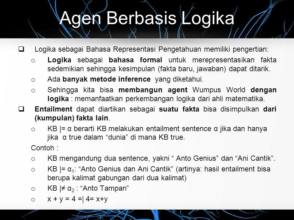 Agen Berbasis Logika Logika sebagai Bahasa Representasi Pengetahuan memiliki pengertian: