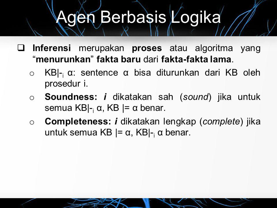 Agen Berbasis Logika Inferensi merupakan proses atau algoritma yang menurunkan fakta baru dari fakta-fakta lama.
