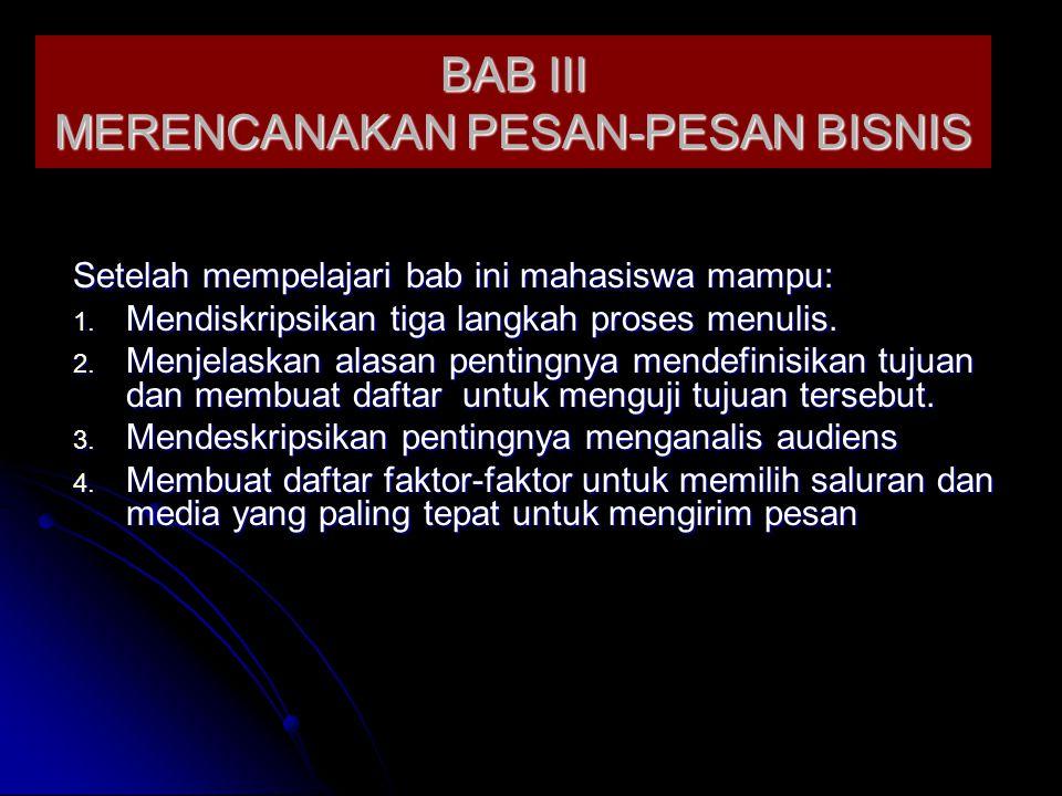 BAB III MERENCANAKAN PESAN-PESAN BISNIS