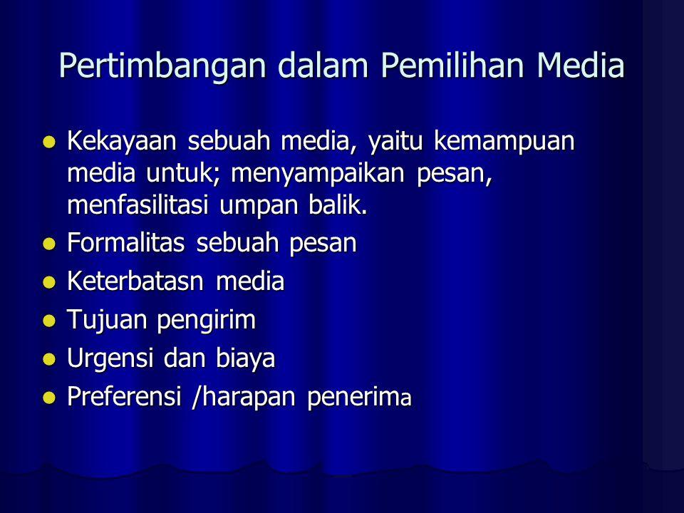 Pertimbangan dalam Pemilihan Media