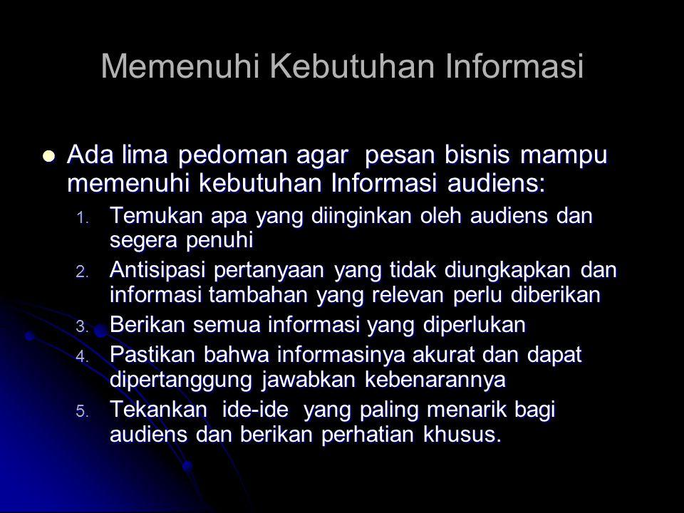 Memenuhi Kebutuhan Informasi