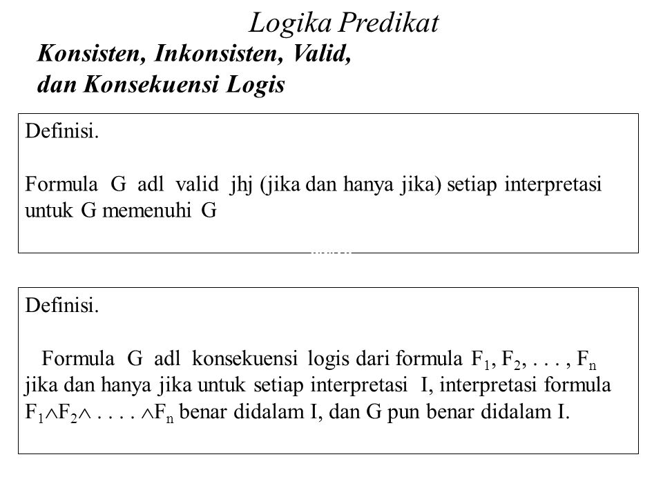 Logika Predikat Konsisten, Inkonsisten, Valid, dan Konsekuensi Logis