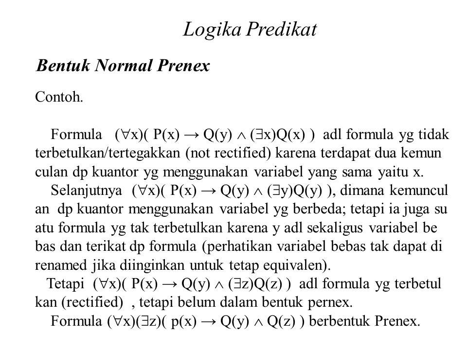 Logika Predikat Bentuk Normal Prenex Contoh.