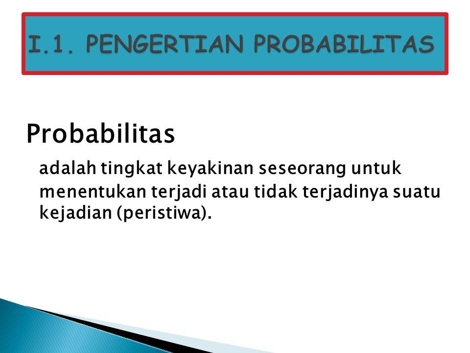I.1. PENGERTIAN PROBABILITAS