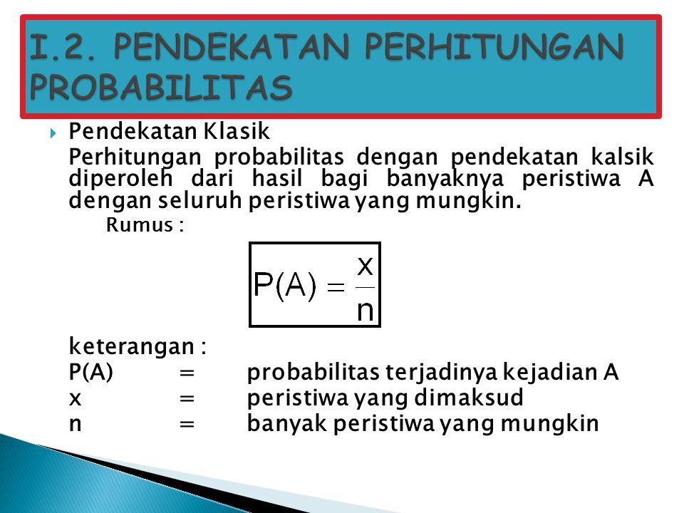I.2. PENDEKATAN PERHITUNGAN PROBABILITAS