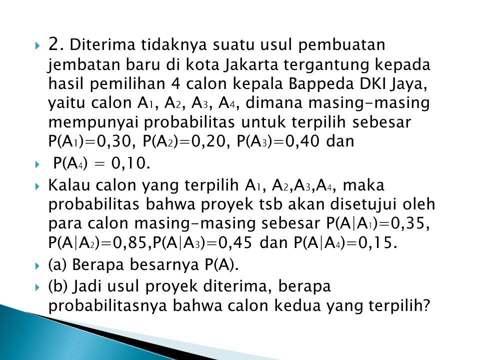 2. Diterima tidaknya suatu usul pembuatan jembatan baru di kota Jakarta tergantung kepada hasil pemilihan 4 calon kepala Bappeda DKI Jaya, yaitu calon A1, A2, A3, A4, dimana masing-masing mempunyai probabilitas untuk terpilih sebesar P(A1)=0,30, P(A2)=0,20, P(A3)=0,40 dan