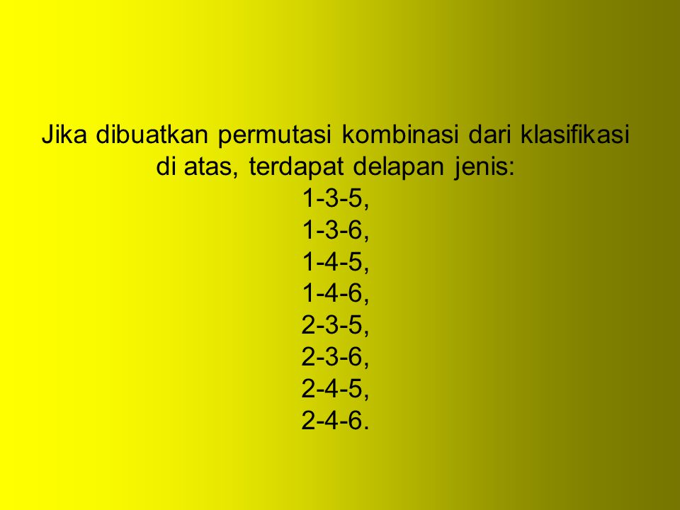 Jika dibuatkan permutasi kombinasi dari klasifikasi di atas, terdapat delapan jenis: 1-3-5, 1-3-6, 1-4-5, 1-4-6, 2-3-5, 2-3-6, 2-4-5, 2-4-6.
