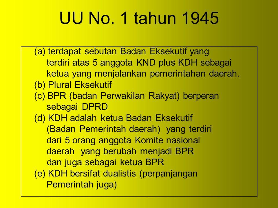 UU No. 1 tahun 1945 (a) terdapat sebutan Badan Eksekutif yang