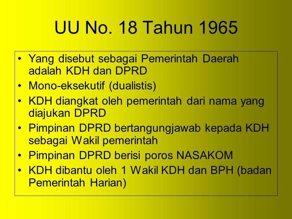 UU No. 18 Tahun 1965 Yang disebut sebagai Pemerintah Daerah adalah KDH dan DPRD. Mono-eksekutif (dualistis)