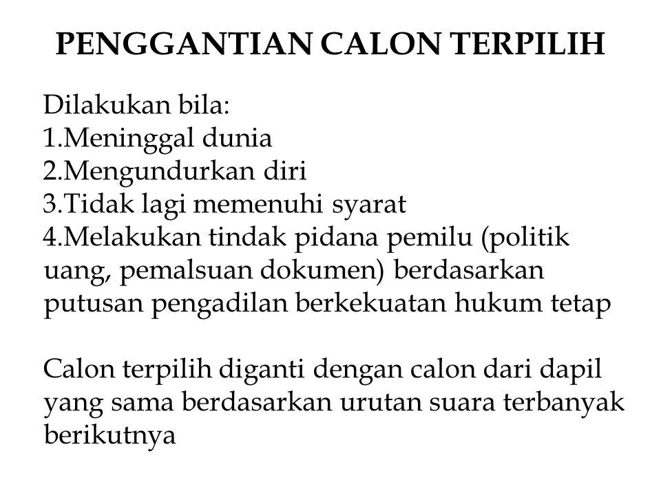 PENGGANTIAN CALON TERPILIH