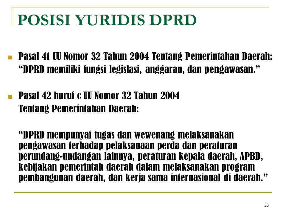 POSISI YURIDIS DPRD Pasal 41 UU Nomor 32 Tahun 2004 Tentang Pemerintahan Daerah: DPRD memiliki fungsi legislasi, anggaran, dan pengawasan.
