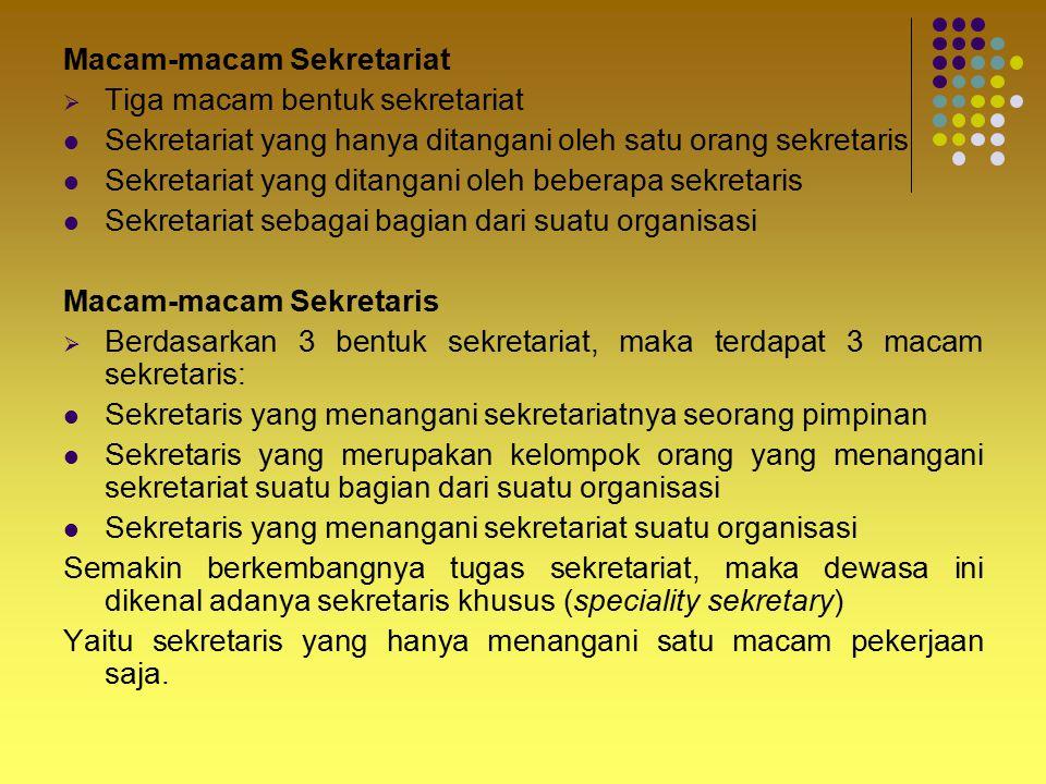 Macam-macam Sekretariat