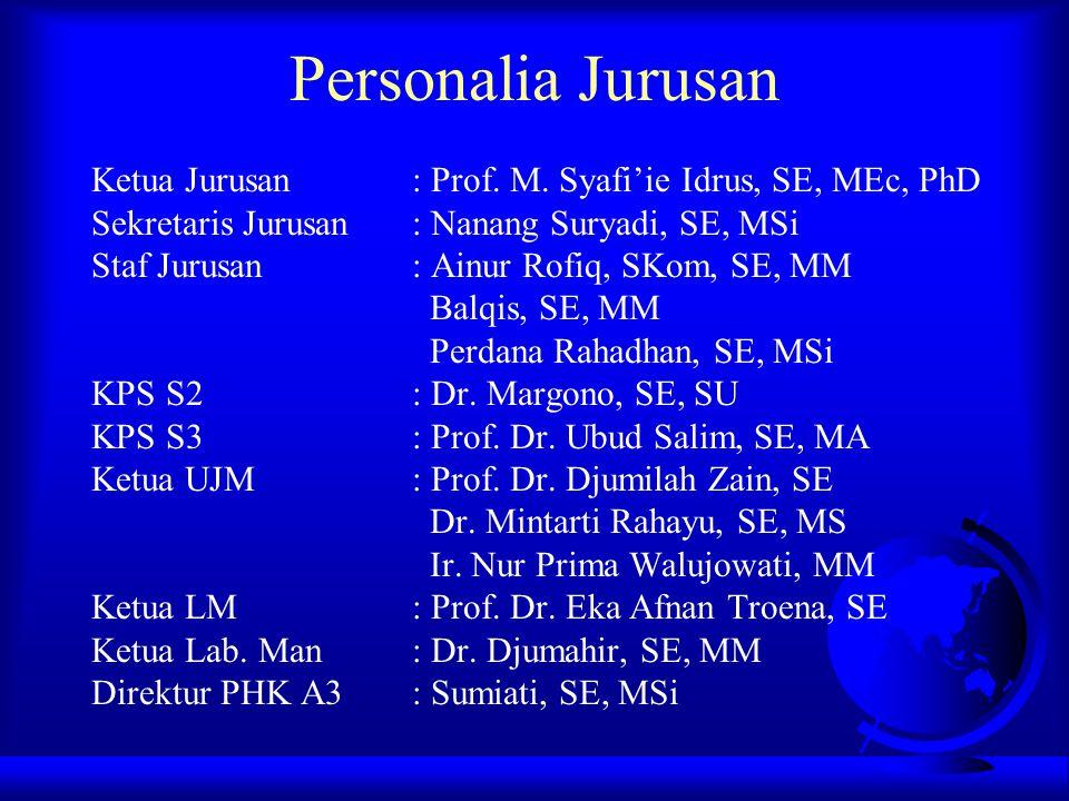 Personalia Jurusan Ketua Jurusan : Prof. M. Syafi'ie Idrus, SE, MEc, PhD. Sekretaris Jurusan : Nanang Suryadi, SE, MSi.