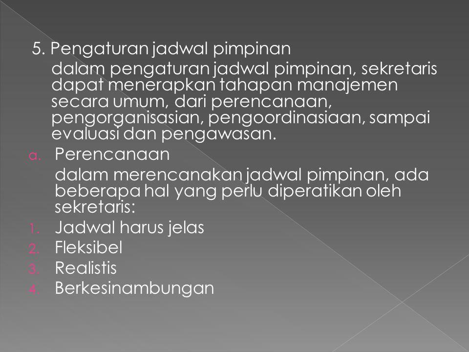 5. Pengaturan jadwal pimpinan