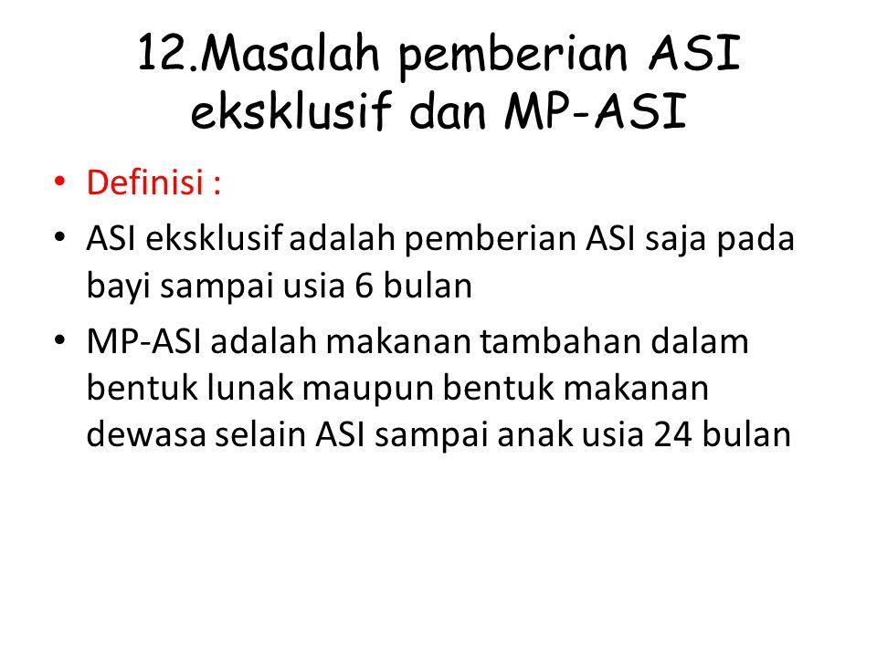 12.Masalah pemberian ASI eksklusif dan MP-ASI