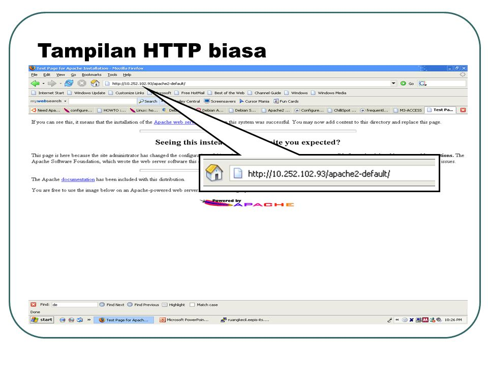 Tampilan HTTP biasa