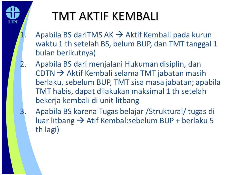 TMT AKTIF KEMBALI Apabila BS dariTMS AK  Aktif Kembali pada kurun waktu 1 th setelah BS, belum BUP, dan TMT tanggal 1 bulan berikutnya)