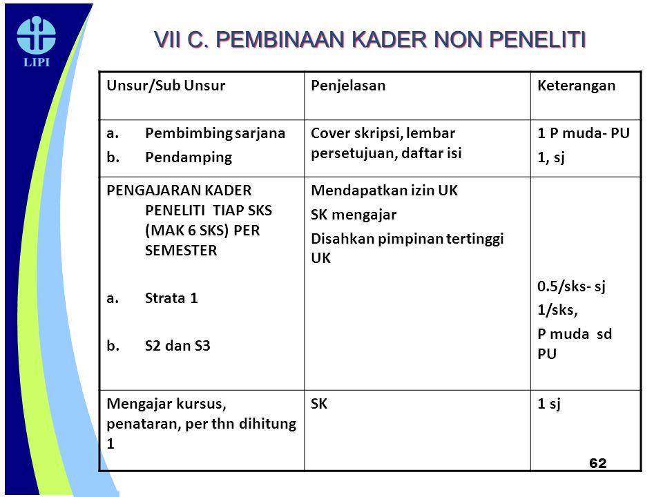VII C. PEMBINAAN KADER NON PENELITI