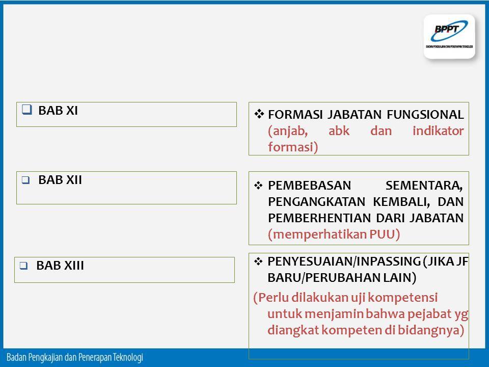 BAB XI FORMASI JABATAN FUNGSIONAL (anjab, abk dan indikator formasi) BAB XII.