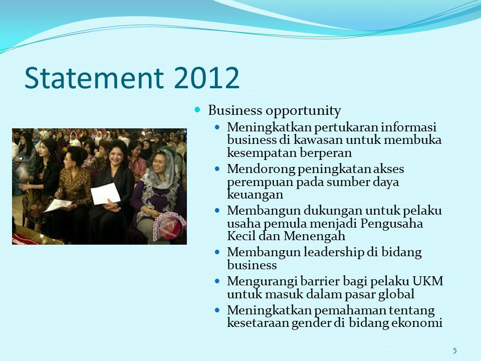 Statement 2012 Business opportunity