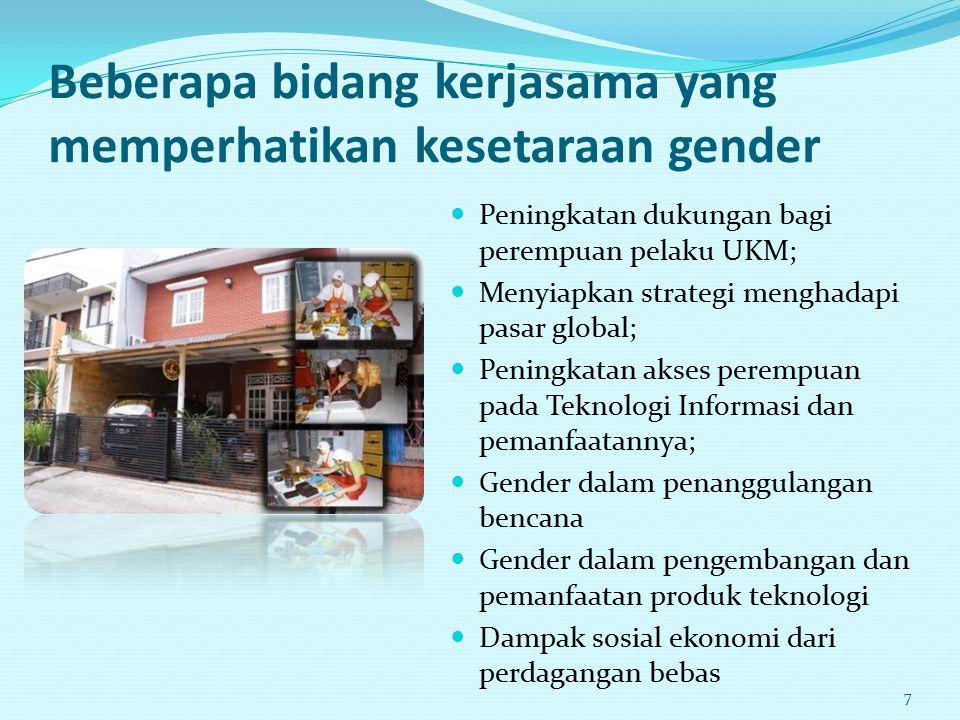Beberapa bidang kerjasama yang memperhatikan kesetaraan gender
