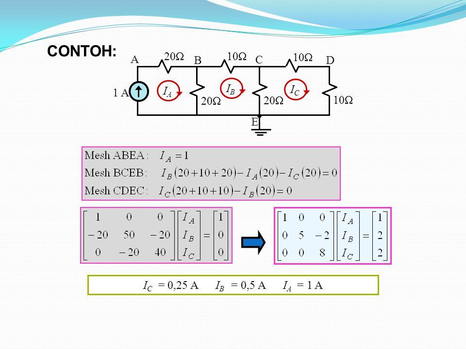 CONTOH: 10 1 A 20 A B C D E IA IB IC IC = 0,25 A IB = 0,5 A IA = 1 A