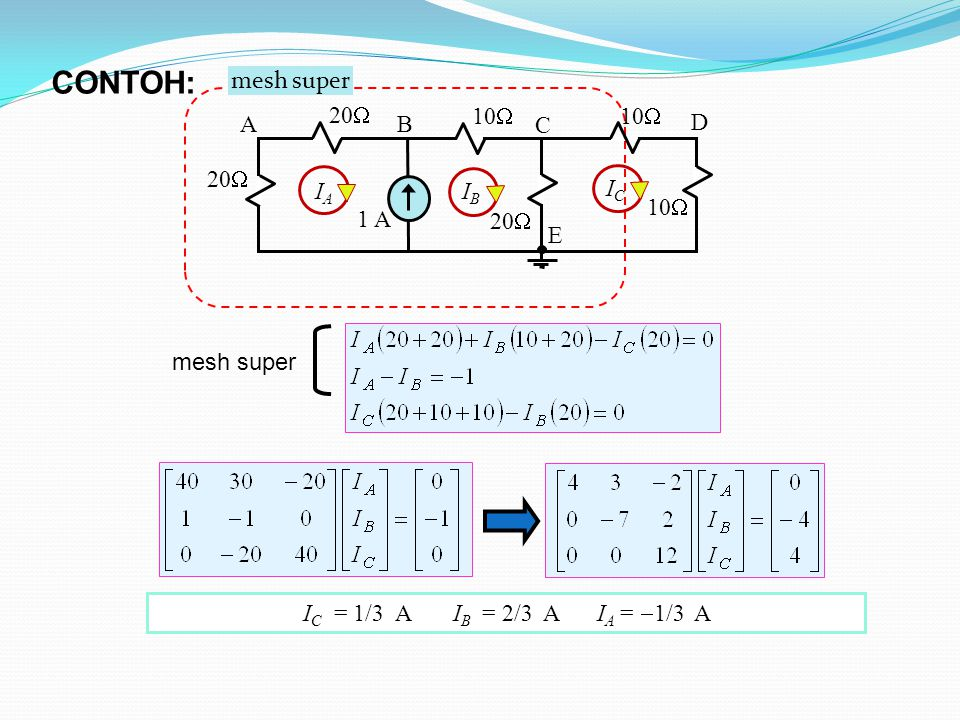 CONTOH: mesh super 10 1 A 20 A B C D E IA IB IC mesh super