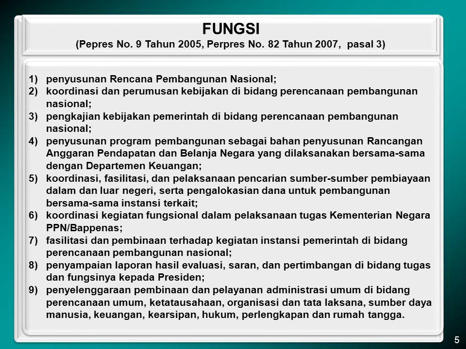 (Pepres No. 9 Tahun 2005, Perpres No. 82 Tahun 2007, pasal 3)