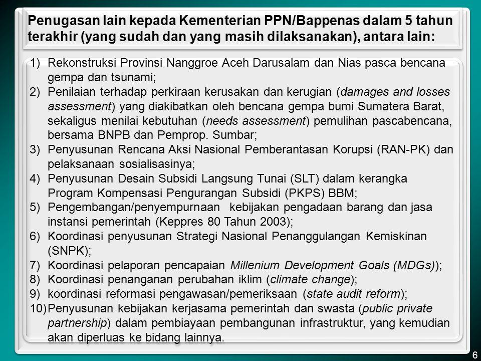 Penugasan lain kepada Kementerian PPN/Bappenas dalam 5 tahun terakhir (yang sudah dan yang masih dilaksanakan), antara lain: