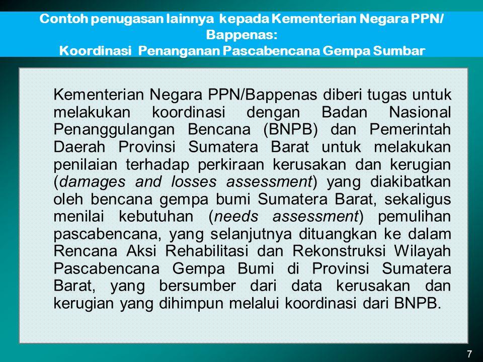 Contoh penugasan lainnya kepada Kementerian Negara PPN/ Bappenas: Koordinasi Penanganan Pascabencana Gempa Sumbar