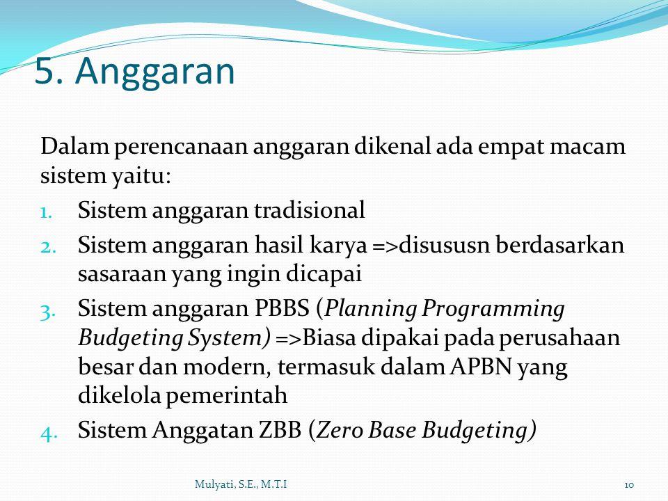 5. Anggaran Dalam perencanaan anggaran dikenal ada empat macam sistem yaitu: Sistem anggaran tradisional.