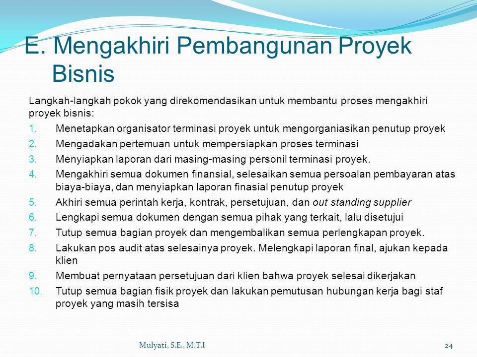 E. Mengakhiri Pembangunan Proyek Bisnis