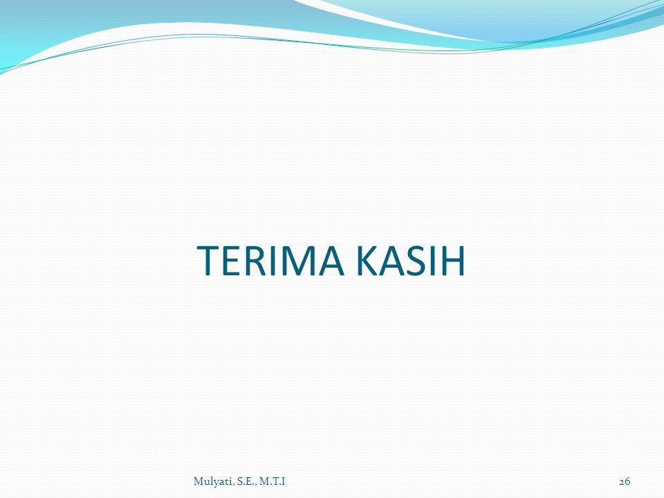 TERIMA KASIH Mulyati, S.E., M.T.I