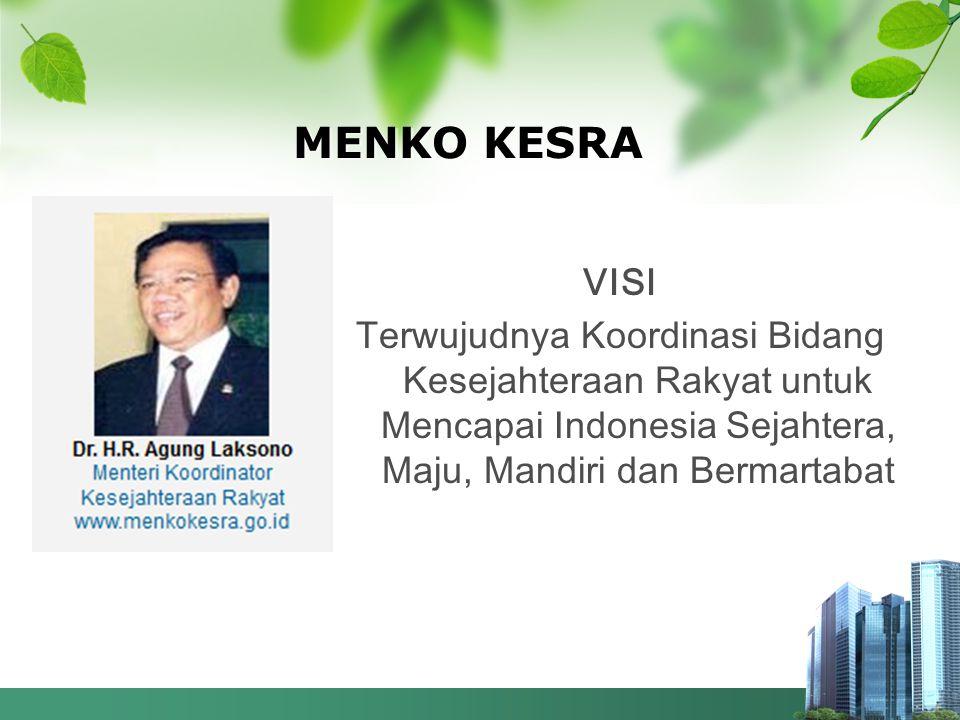 MENKO KESRA VISI Terwujudnya Koordinasi Bidang Kesejahteraan Rakyat untuk Mencapai Indonesia Sejahtera, Maju, Mandiri dan Bermartabat