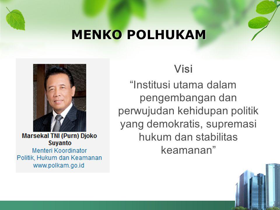 MENKO POLHUKAM Visi Institusi utama dalam pengembangan dan perwujudan kehidupan politik yang demokratis, supremasi hukum dan stabilitas keamanan